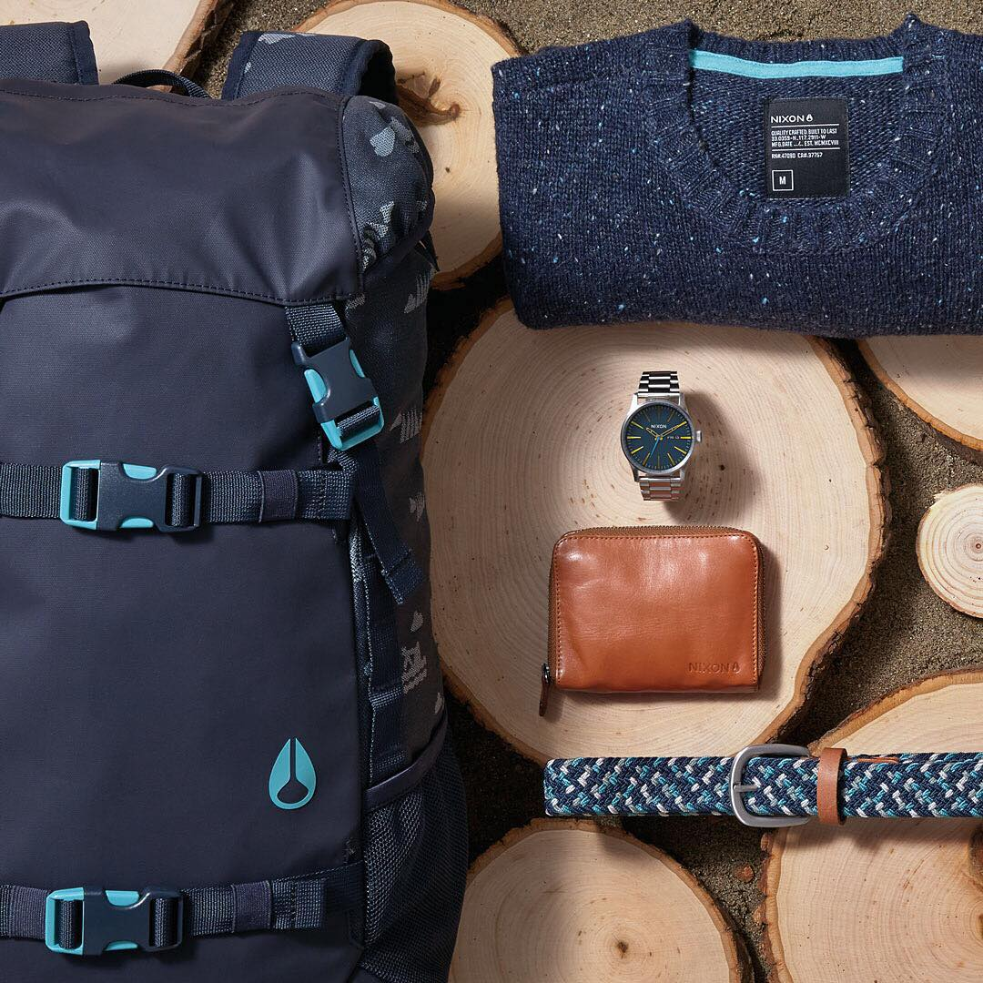 Secluded California coastlines inspires Lost Coast - Shelter Cove. It's a collection featuring an icy palette of blue and metal warmed by hand-spun wool, rich leather and homegrown patterns. #LandlockBackpack #Sentry #NixonNow