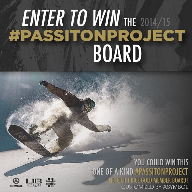 We built one extra #passitonproject board this year, and now we're giving you a chance to win it. This customized Lib Tech 2014/15 @travisrice Gold Member is the real deal - #passitonproject board #4. Go to Asymbol.co to enter. Contest ends 3/21. Good...