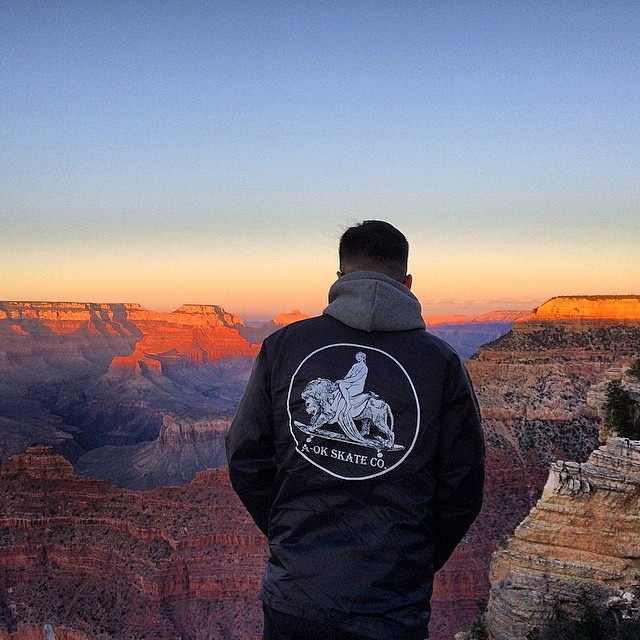 @nattybumppo_  Looks over the horizon and contemplates how to one up Bob Burnquists Grand Canyon 50-50. Regal lion coach jacket available - www.aokskateco.com