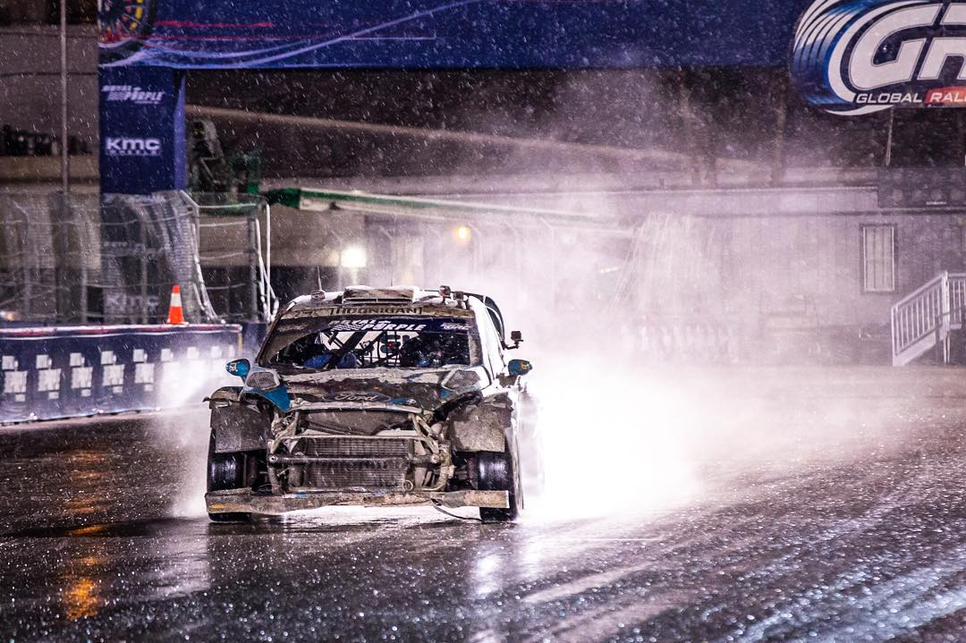 #GlobalRallycross Las Vegas' conditions yesterday, summed up in one photo. Because of the crazy rain, we had to race on the GRC spec rain tires - for the first time ever. Yup, that's six or more 600+ horsepower cars battling for position in the rain on...