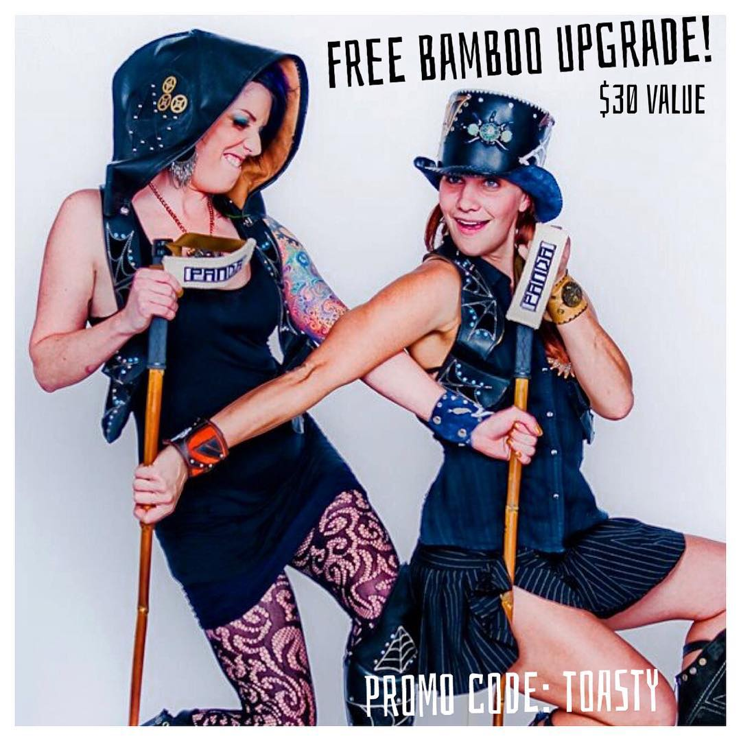 "Hey! Get 'your own' Toasted!  Free ""Toasted"" bamboo upgrade with promo code TOASTY!  #TribeUP Toasted!  Photo: @brettcolvin  #PandaPoles #PandaTribe"