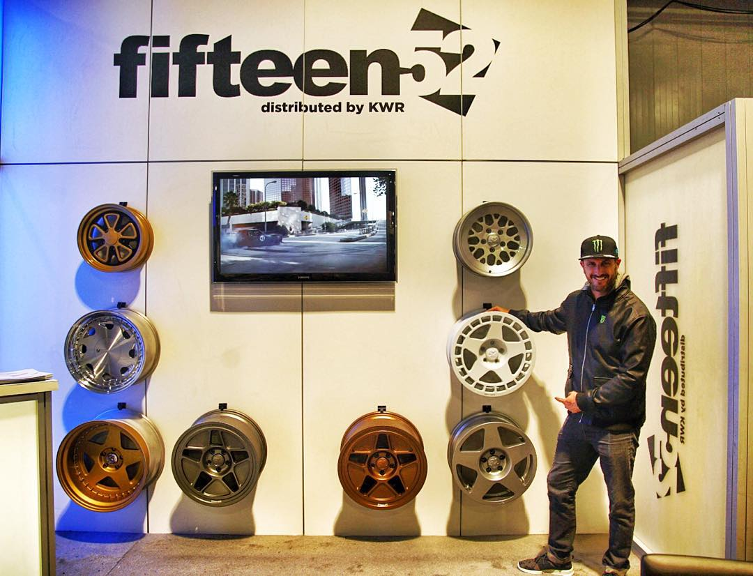 Check out the selection of @fifteen52 wheels  here at the SEMA show in Las Vegas - including three of my signature wheels: the Tarmac, Turbomac, and Tarmac R43. Take a look at 'em in person in the wheel hall if you're at SEMA this week. #SEMA2015...