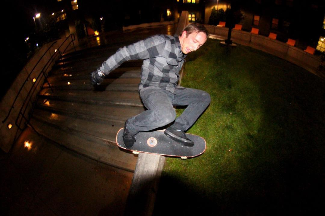 Night time is the right time - @jimmywesterson with a wallie to layback boardslide in the darkness of the desert.