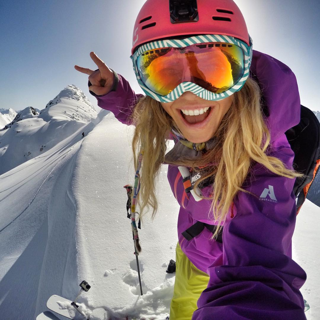 Mountain girl selfie. Team rider @lynseydyer pauses before chasing this mountain dream