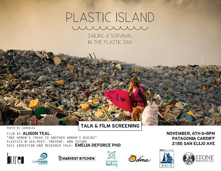 "TONIGHT! ""PLASTIC ISLAND: Sailing and Survival in the Plastic Era"" Friday Novemebr 6th @PatagoniaCardiff from 6-8. Join us for ""Plastics @ SEA"" a research talk by Emelia DeForce Phd and Film screening of @alisonsadventures ""One Woman's Trash is Another..."