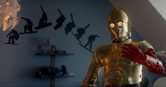 C-3PO is a snowboard fan.