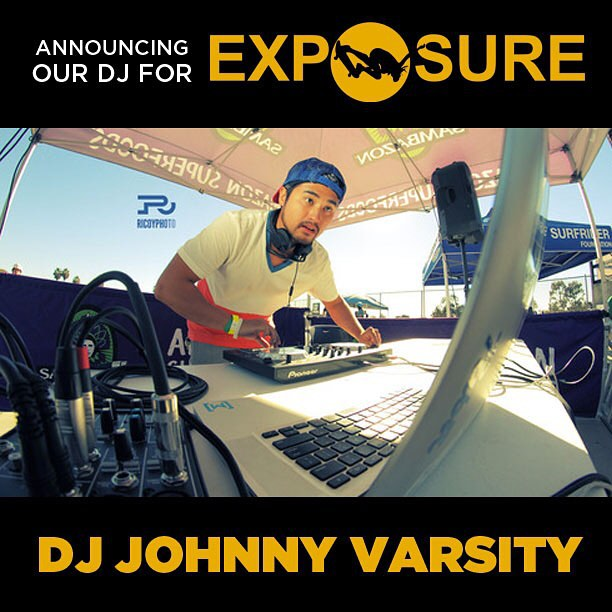 DJ @johnnyvarsity will be laying down tracks all day today at #Exposure2015. We're looking forward to having the perfect soundtrack to a full day of ripping and fun.