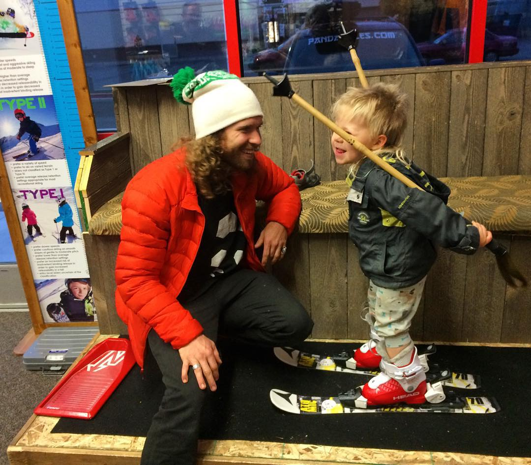 "A sacred moment between a young snow wizard and his father... Mozes Montana gets dialed in on his first pair of ""real"" skis and boots, while proud papa Panda--TanSnowMan-- tries to contain his swelling heart... Thanks to Barrie's Ski and Sports for the..."