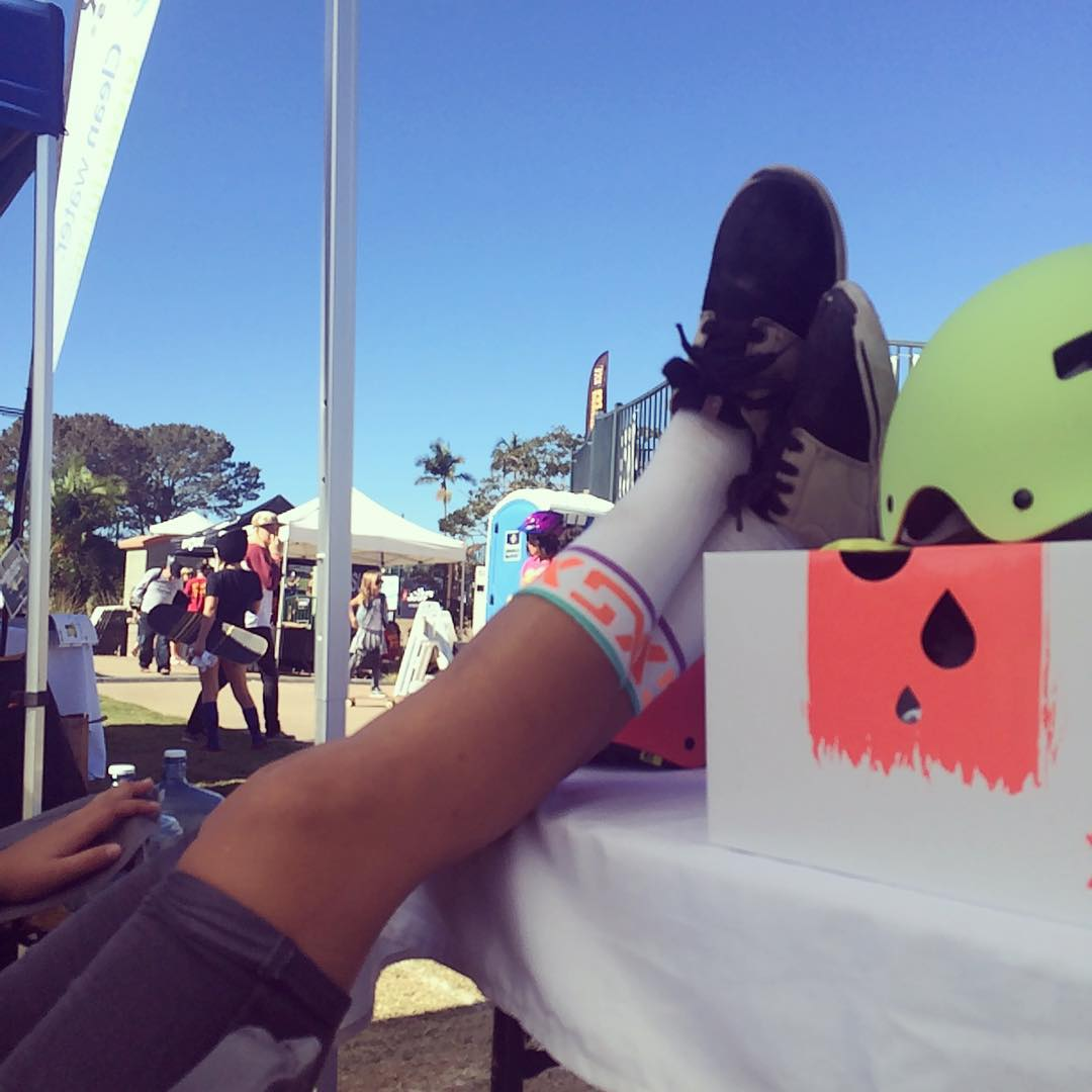 Team rider @huntahlong hanging with us @exposureskate! Come out to see the girls skate today! #XSsocks #xshelmets #exposureskate #exposure2015