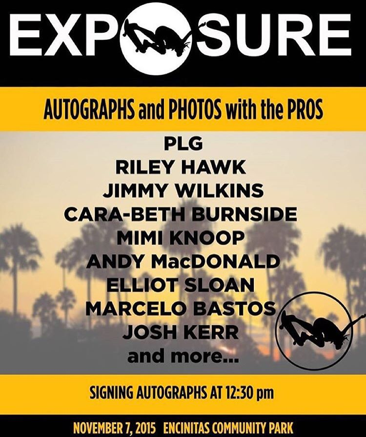 Happening right now! Autograph signing by the biggest pros! Come to the white tent by the vert ramp! #exposure2015
