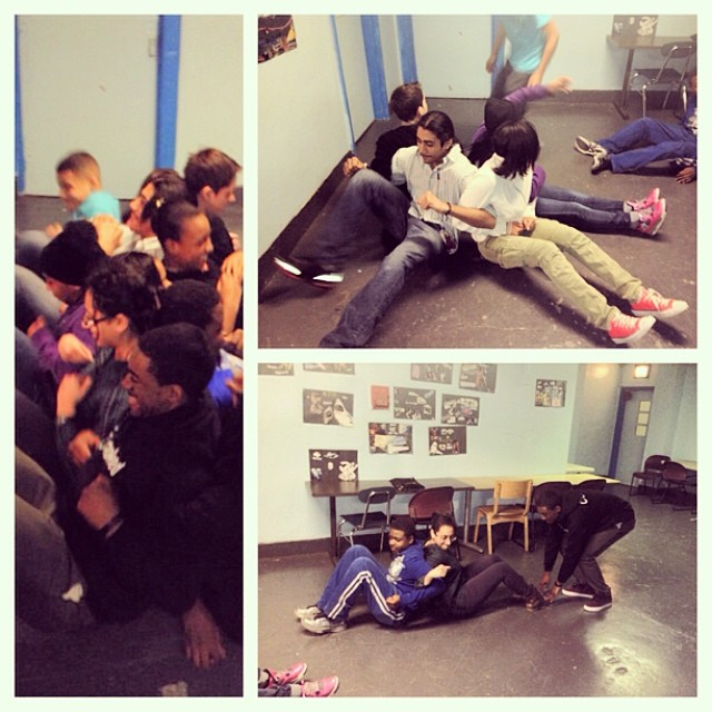 Our students learning the meaning of #teamwork from the ground up. #backtoback #mentoring #nyc #awesome #fun