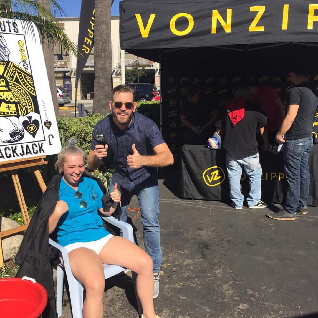 If you weren't at the @surfsidesports Snow Carnival today and got a trim from @_hoff_ you really missed out. Gearing up for the snow season in 80 degree weather never felt so good! #TrustHim #VonZipper #SupportWildLife