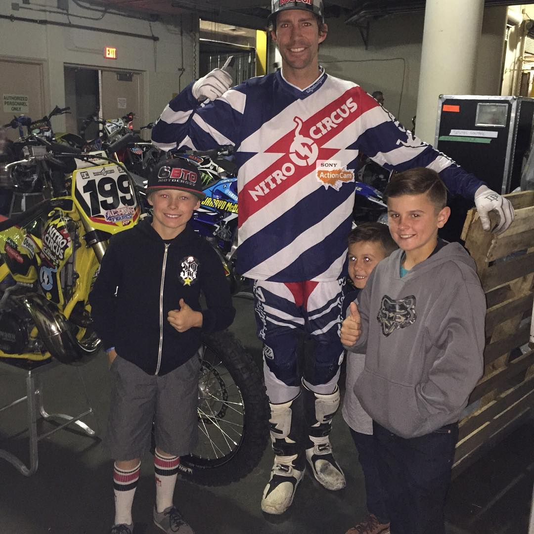 Took the kids to @nitrocircus after their races today. @dangerboydeegan @hucksondeegan and @teamvarola hanging out with @travispastrana after the show. Now it's time to head back to the track for tomorrow!