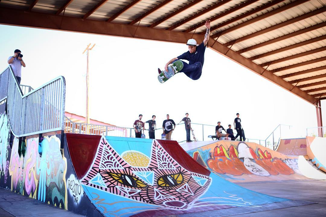 @nick_garcia blasts one over the hip #elementadvocate Mike Kershnar (@huskyroundup) painted at the skatepark today on the Gila River Rez. Great day of giving back to the kids!
