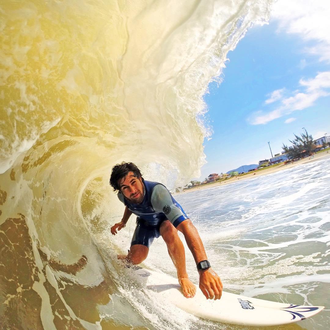 """@pedrincarraro entocado nos barrels de Ponta Negra."" Photo: @luccabiot GoPro HERO4 | GoPole Bobber #gopro #gopole #gopolebobber #surfing #brazil"