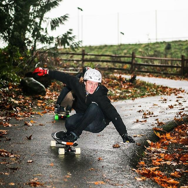 Embracing the changing seasons, @_morganowens_ncmb doesn't let a little rain stop him from getting outdoors and riding his skateboard.