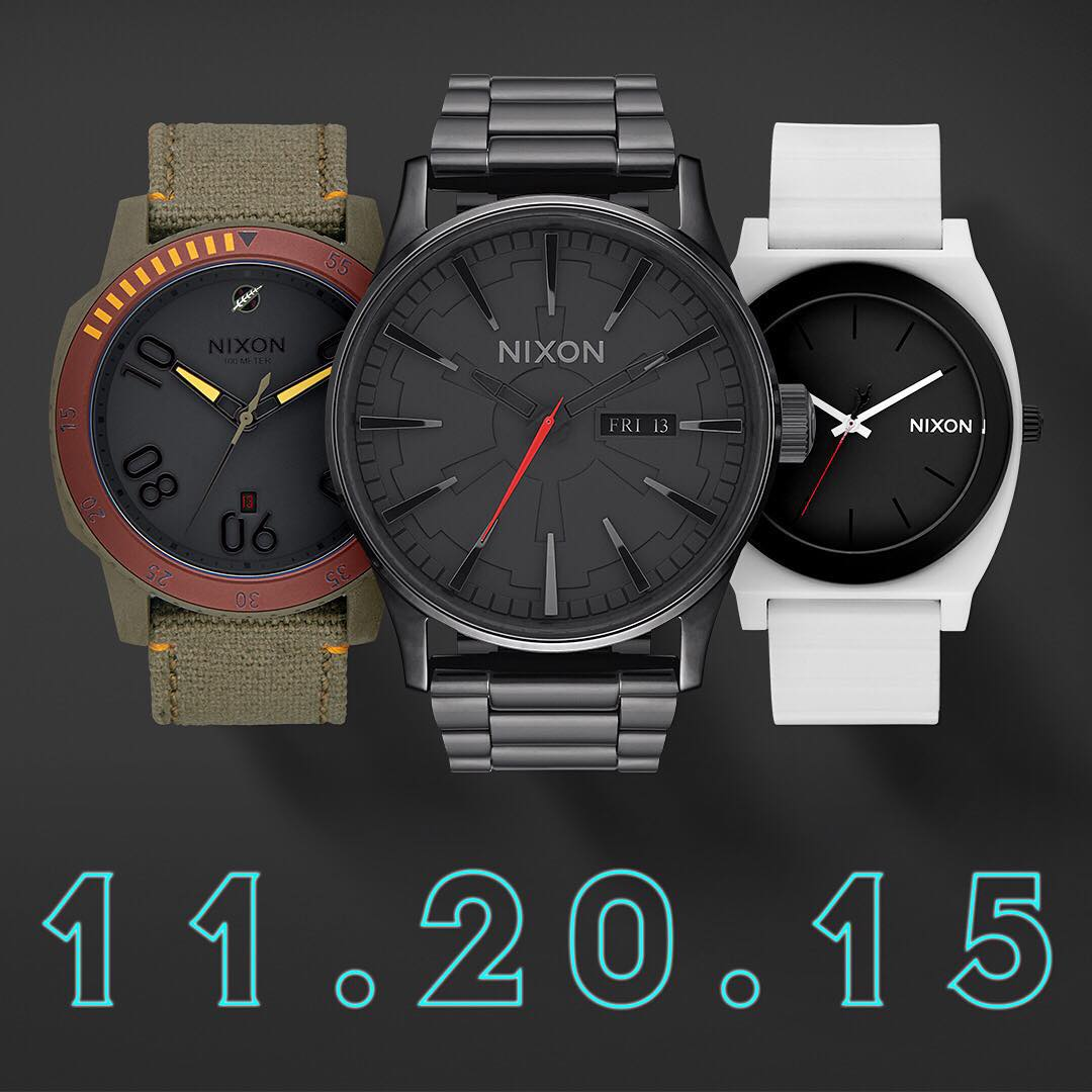 Let the countdown begin. @StarWars | #Nixon Collection Part Two featuring #BobaFett #Ranger, #DarthVader #Sentry, #Stormtrooper #TimeTeller, available Friday, 11/20. #NixonNow #TheForceAwakens #StarWars