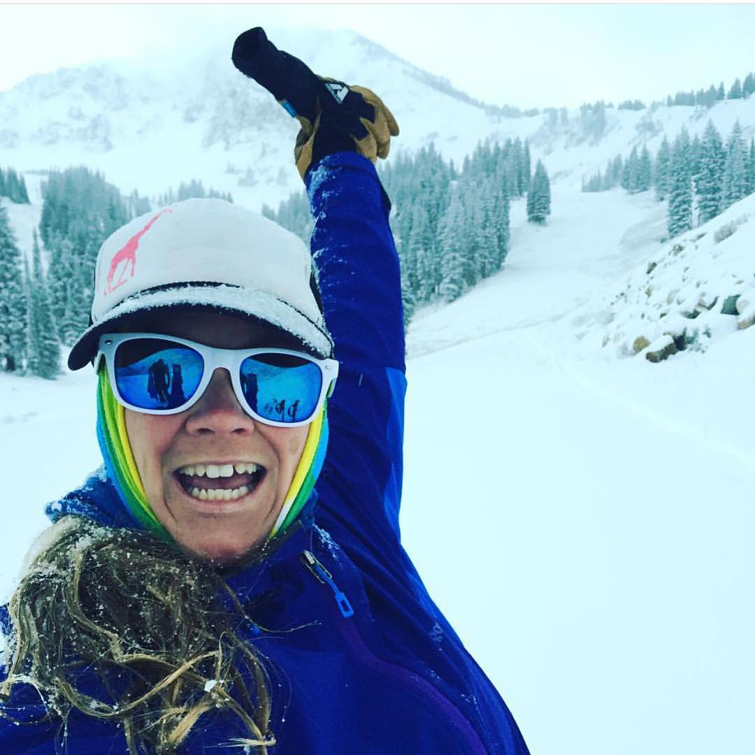 This is stoke! #Regram from @wendystein. Her first day of the ski season. Woot woot! We love the hat! If you're rocking a #SheJumps hat or #girafficorn, make sure to tag us so we can share on our social channels. Enjoy the snow, all.