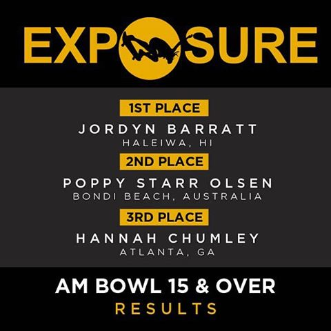 #exposure2015 AM Bowl 15 & over Results. We are so proud of you @jordynbarratt @poppystarr and @gothsriracha ! Check out exposureskate.org/2015-results/ for the full results!