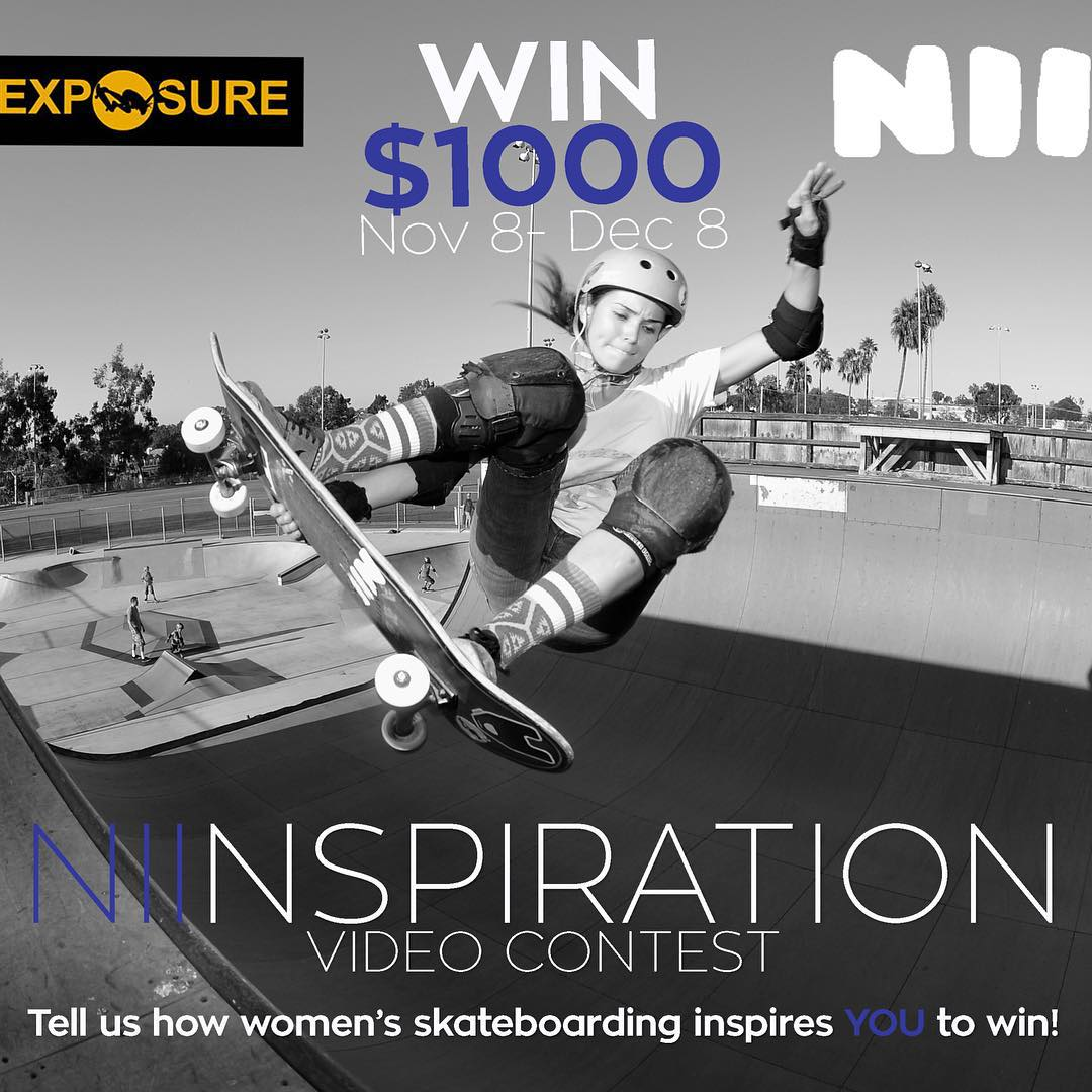 Want to win $1000??? Just make a video up to 1 minute long that shows how women's skateboarding inspires you ! Click the link in our bio for information on how to enter! @niifoods #niinspiration #owntheday