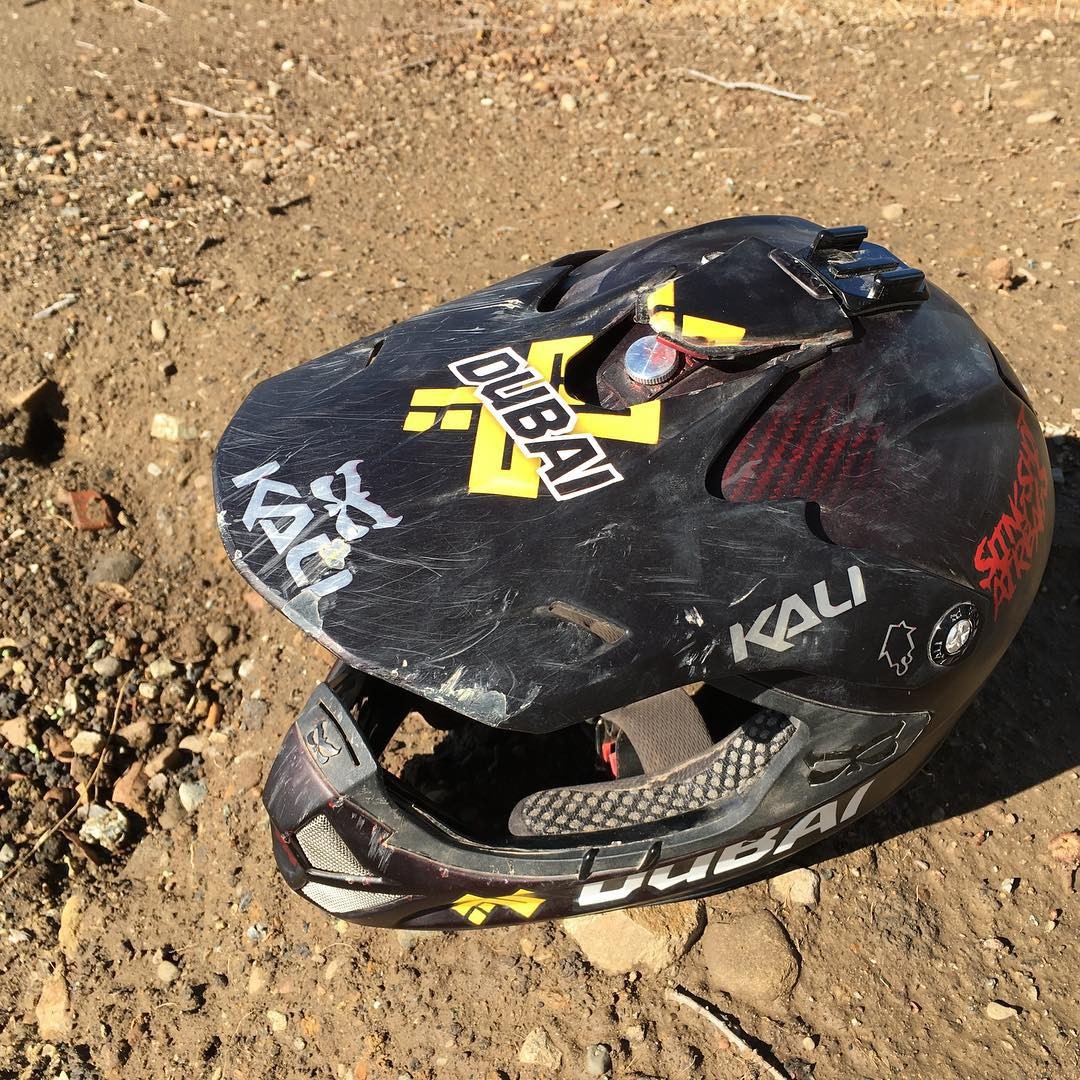Just received the custom Shiva @nicholirogatkin crashed in at Rampage.  Our engineering team is pretty excited about examining the helmet to see how it withstood the forty foot crash. | #VisorOptional #Rampage #werideforpaul