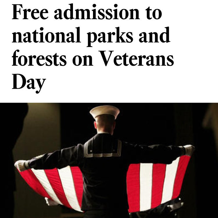 W E  S A L U T E  Y O U Happy Veterans Day. Great day to getaway, & we are thankful for all we have, and those who put their lives at risk to make it happen. #nationalparks #veteransday #leaveitbetterthanyoufoundit  #radparks sharing post from @latimes