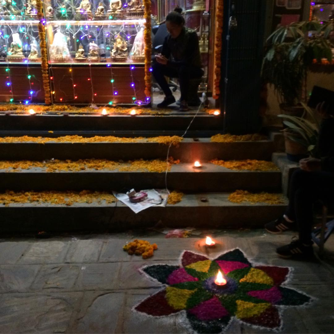 "Tonight is the first night of the 5 day ""Festival of Light, a festive holiday symbolizing new beginning. May it jump start lots of positive growth in Nepal and all around the world.  #festival #Nepal #connectglobally #estwst"