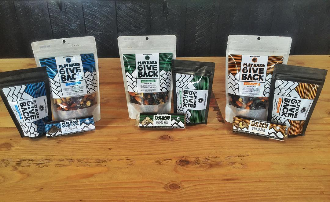 The #PHGB healthy snack line up!! Whether it's our 6oz #trailmix bag, our tasty #bgood nutrition bars, or our NEW 2.5oz quick grab, we have you covered! Fueling your adventure that #givesyoupurpose #jointhemovement #givebacksnacks #travel #getoutside...