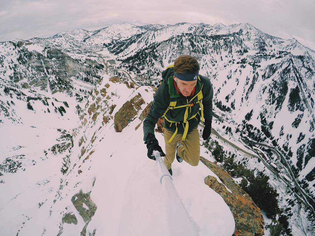 This is on the South Ridge of Mount Superior near Alta Ski resort in Utah. It's a technical climb as it is, but in the winter it's even more technical.  Not gonna lie my heart was racing a few times on this snowy ridge. Usually if you tempt this ridge...