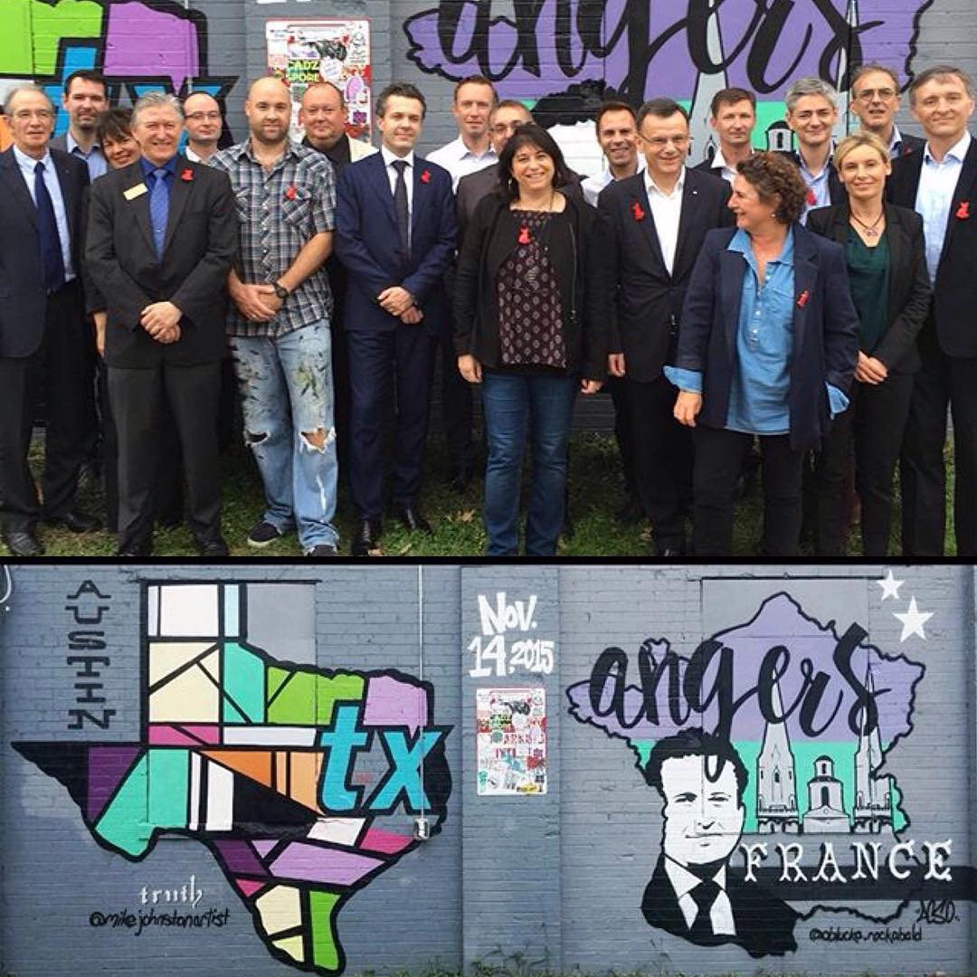 It was an amazing experience meeting the Mayor of Angers France (sister city to Atx) and his delegates today. • • The pieces by @mikejohnstonartist & @oblucka.rockabald turned out great for international week. • • Top photo by @stedsoie #atx #spratx...