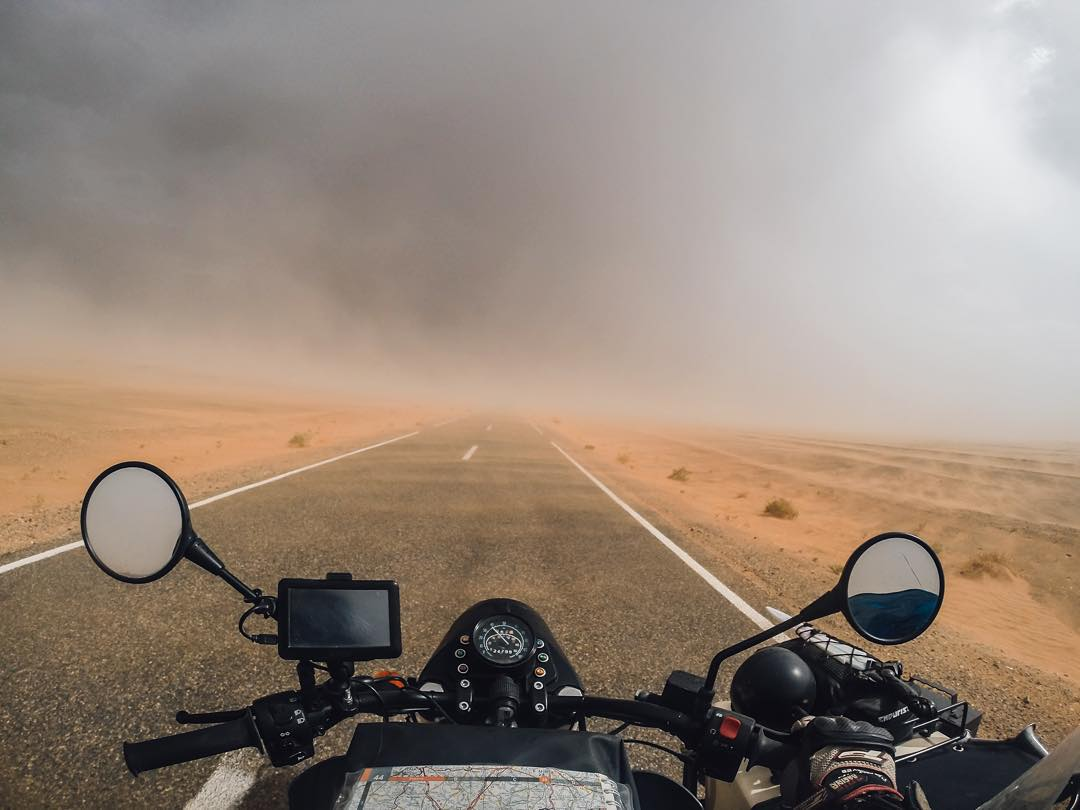 Confronted with a sandstorm @bizoo_n and his co-pilot didn't turn back while adventuring through the Sahara desert. Would you? Tag a friend you'd ride with for a chance to win a #GoPro face mask for you and your navigator! #GoProTravel