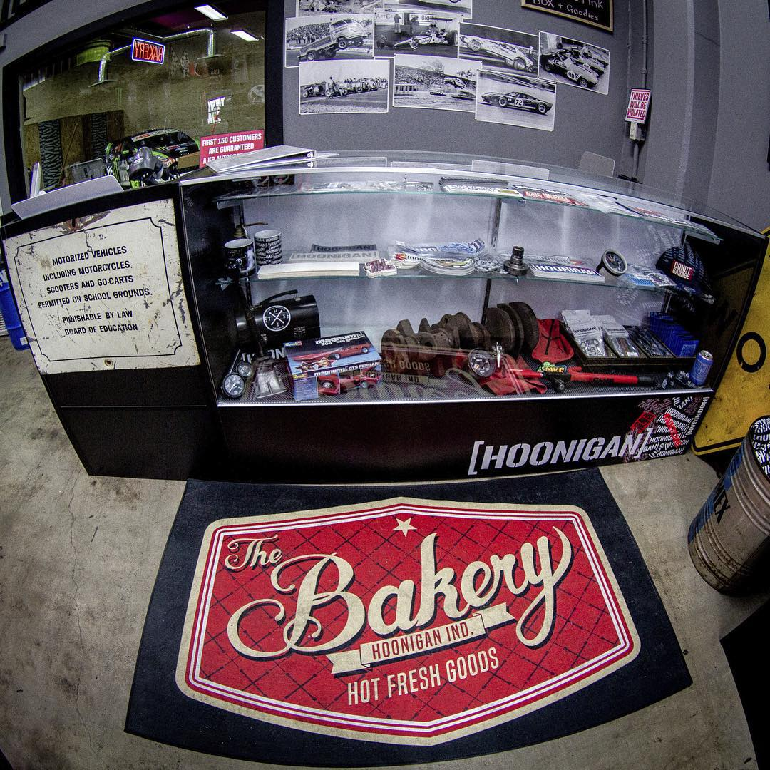 The #donutgarage Bakery is open today 3-7pm. Come by and grab some Bakery-exclusive products or stickers. The #NapalmNova is back from SEMA and on display out front. 621 Golden Ave Long Beach, CA 90802