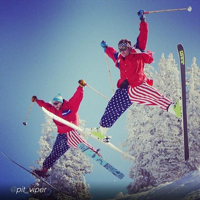 Pit Viper/Panda Poles... #partymountain  Jah bless 'merika!  Photo: @tbarfilms  @chrisgarcin @buckmanford @pit_viper  #magicskiwands #pandatribe #freeskierfest