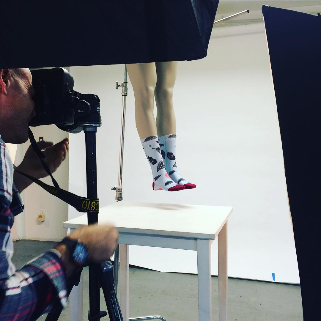Great shooting with #tobynrossphotography today! A real perfectionist! XS socks will be up on our website soon !!