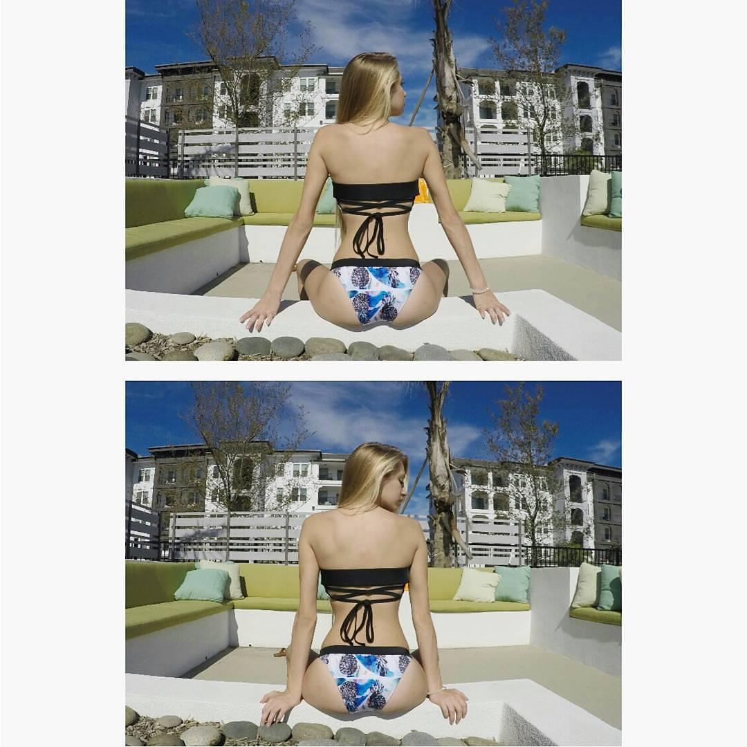 #akelasurf Ambassador @tabitha_wimberly Veronica Steigner Collection #Bikini Skin Miro Bikini Bottom Atoll #tropical #fashion