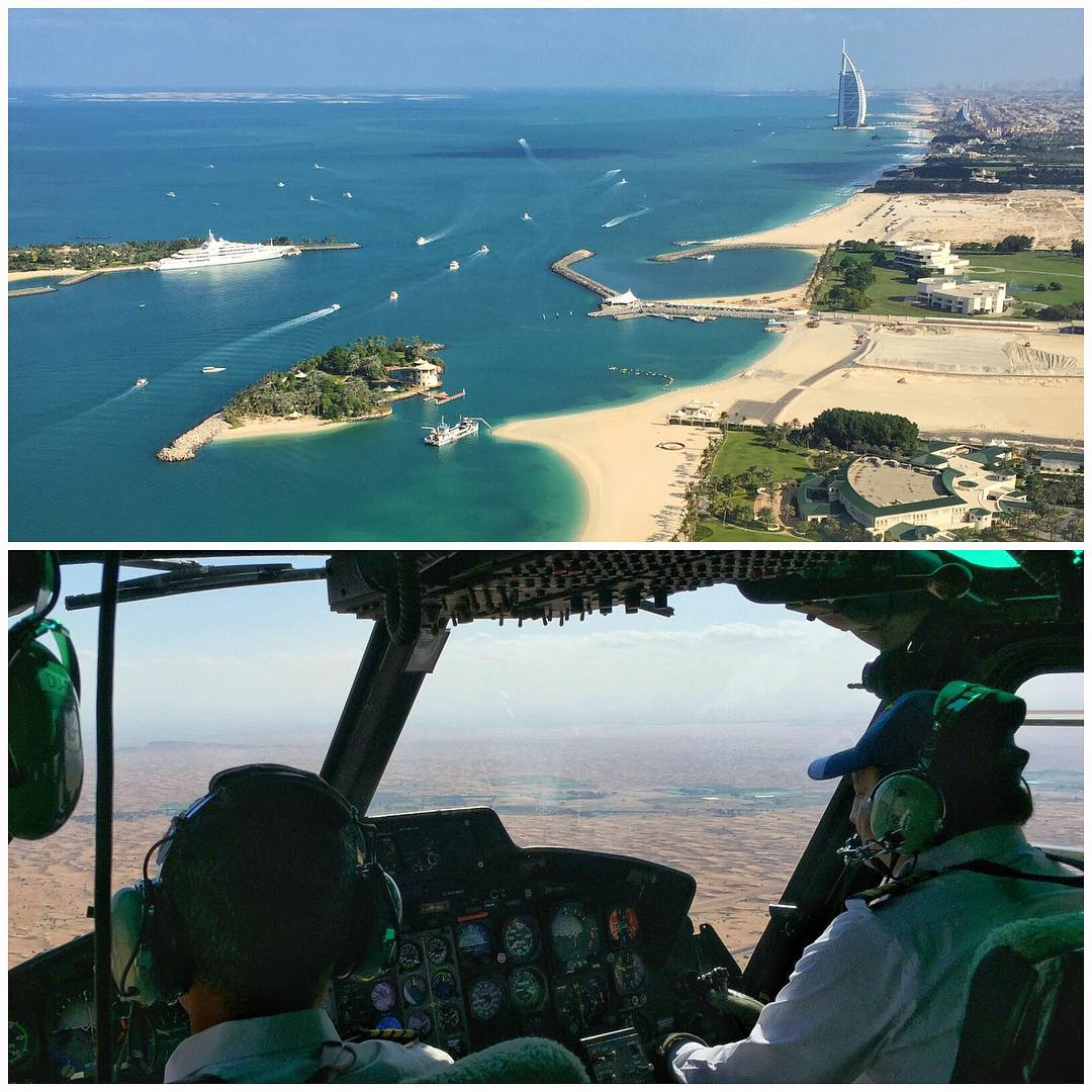 My eye from the Dubai sky today. Two views from my helicopter ride earlier today. #helilife #Dubai @XDubai