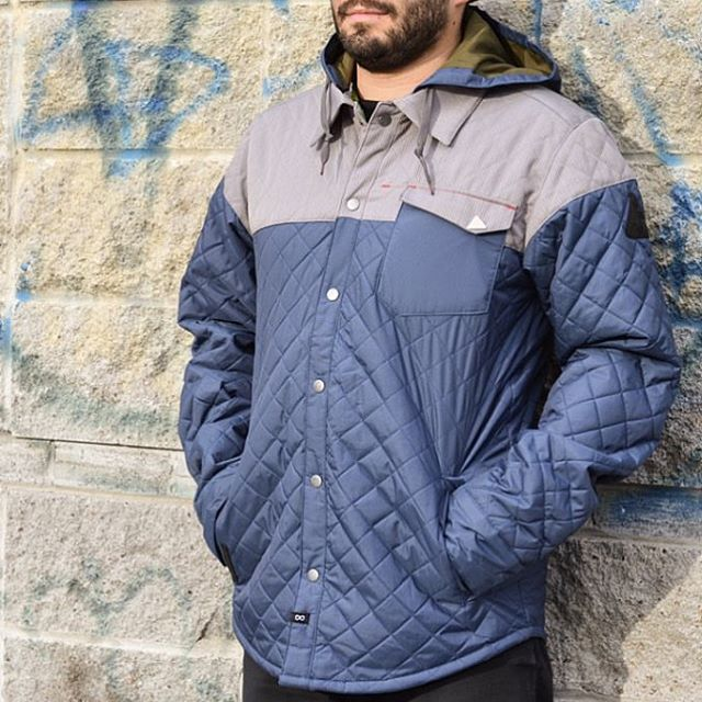 @universeboardshop is stocked with all the new jackets. #DibShirt in blue made from 100% #Recycled Polyester. #MindfullyManufactured #ShopLocal | Dealer Link in bio ♻️
