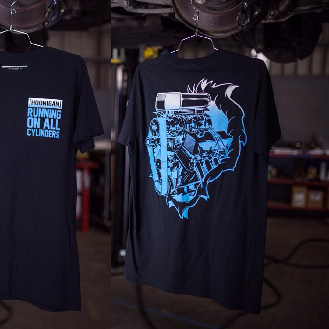 A look at both sides of the Running On All Cylinders tee. Available now on #hooniganDOTcom