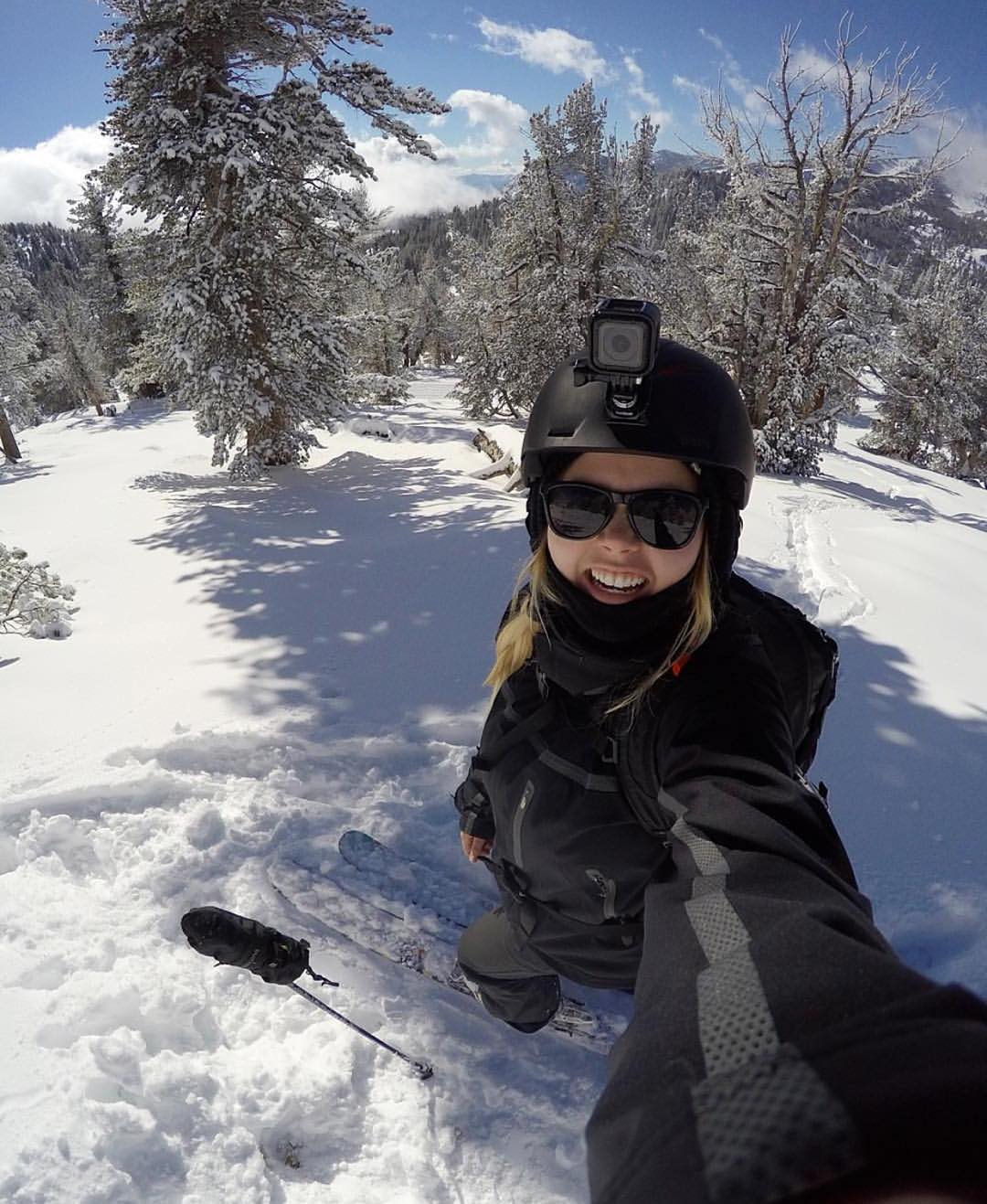 The gnar has been shred @hannahbrie sports the SoCal shades while enjoying some fresh pow #Kameleonz #Skiing #Pow #EnjoyTheRide