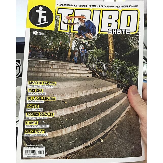 Congrats to @tiagolemoskt for landing the cover of the latest issue of @triboskate in Brazil! Tiago's incredible #DeLaCalleDaRua video part drops next week on the @berrics. Get ready! Switch heelflip. Photo: @blabacphoto #TiagoLemos #DCShoes
