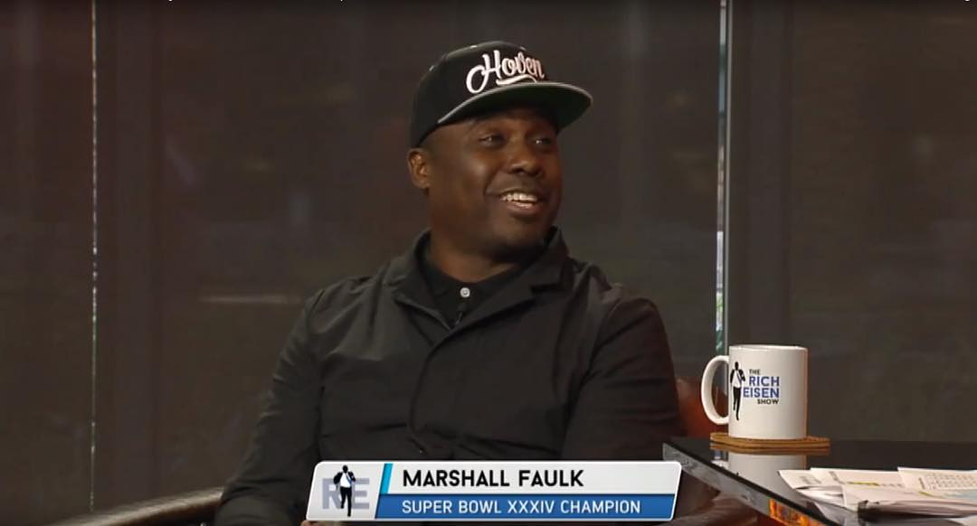 Super Bowl champion Marshall Faulk talking about his picks for this weeks game while rocking our @hovenvision Script hat on the @richeisenshow .  All hats are restocked at www.hovenvision.com  #hovenvision #marshallfaulk #superbowlchamps #nfl...