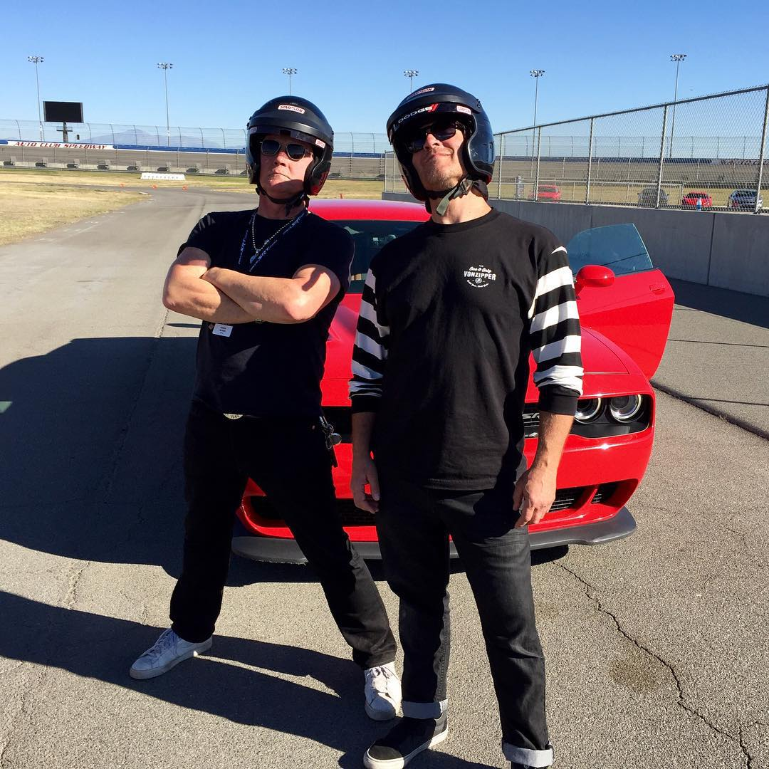 Fun day at @autoclubspeedway with @dodgeofficial for the #SRTTrackExperience! Our Commander and Chief, @gteeeee and Robert Patrick @ripfighter left a lot of rubber on the track today! #VonZipper #SupportWildLife #FreewheelersRC