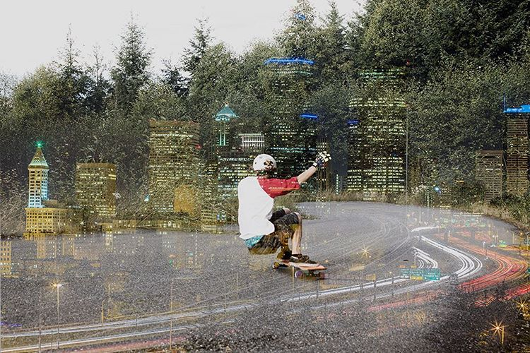 "A little longboard art on a mellow Sunday afternoon featuring a double exposure of team rider Devon Dotson (@devdot23) on the Keystone 37"" and the Seattle skyline. Photos / design by @equalmotion #dblongboards #dbkeystone #doubleexposure #longboard..."