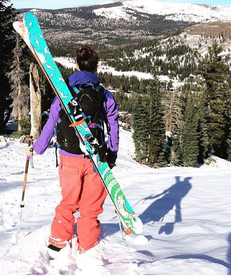 @tahoetatum taking a walk in the woods with our #sos ski. Who's pumped on snow in the Sierra?! #sisterhoodofshred #skiing #alpinebabes #earnyourturns