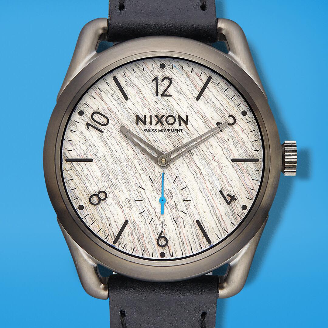 Exclusive and available now @barneysnycofficial. Welcome the #Nixon for #Barneys #C39leather featuring a @horweenleather band and a #newspaperwood dial. From paper back to wood, learn more about the @NewspaperWood process on Nixon.com/happenings....