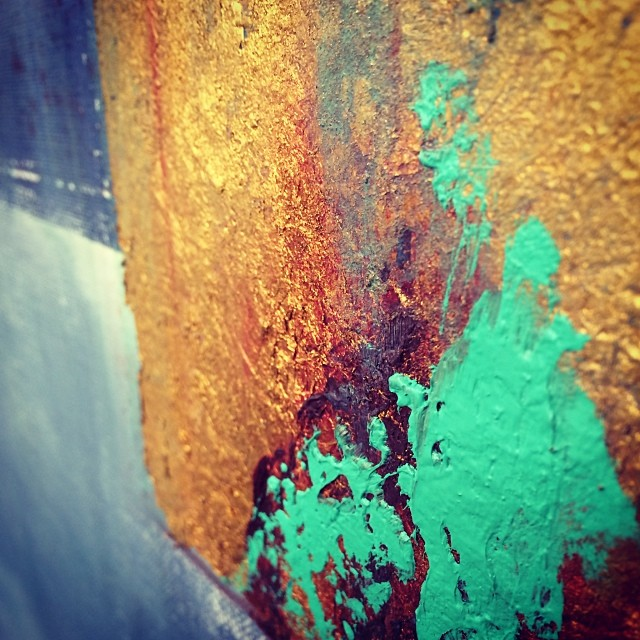 Sometimes you have to throw some gold into your paintings. And sometimes you have to dirty that gold up. #shittydigitalphotosofminimalpaintings #abstraction #minimal #oilpaint #goldleaf #ambrosia #turquoisemoves