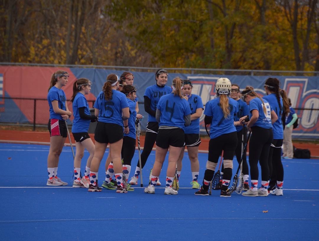 The @umlwclublax is #bright. #lax #college #sports #laxachusetts #laxgirls #blueturf #socks #grabapair #athleisure