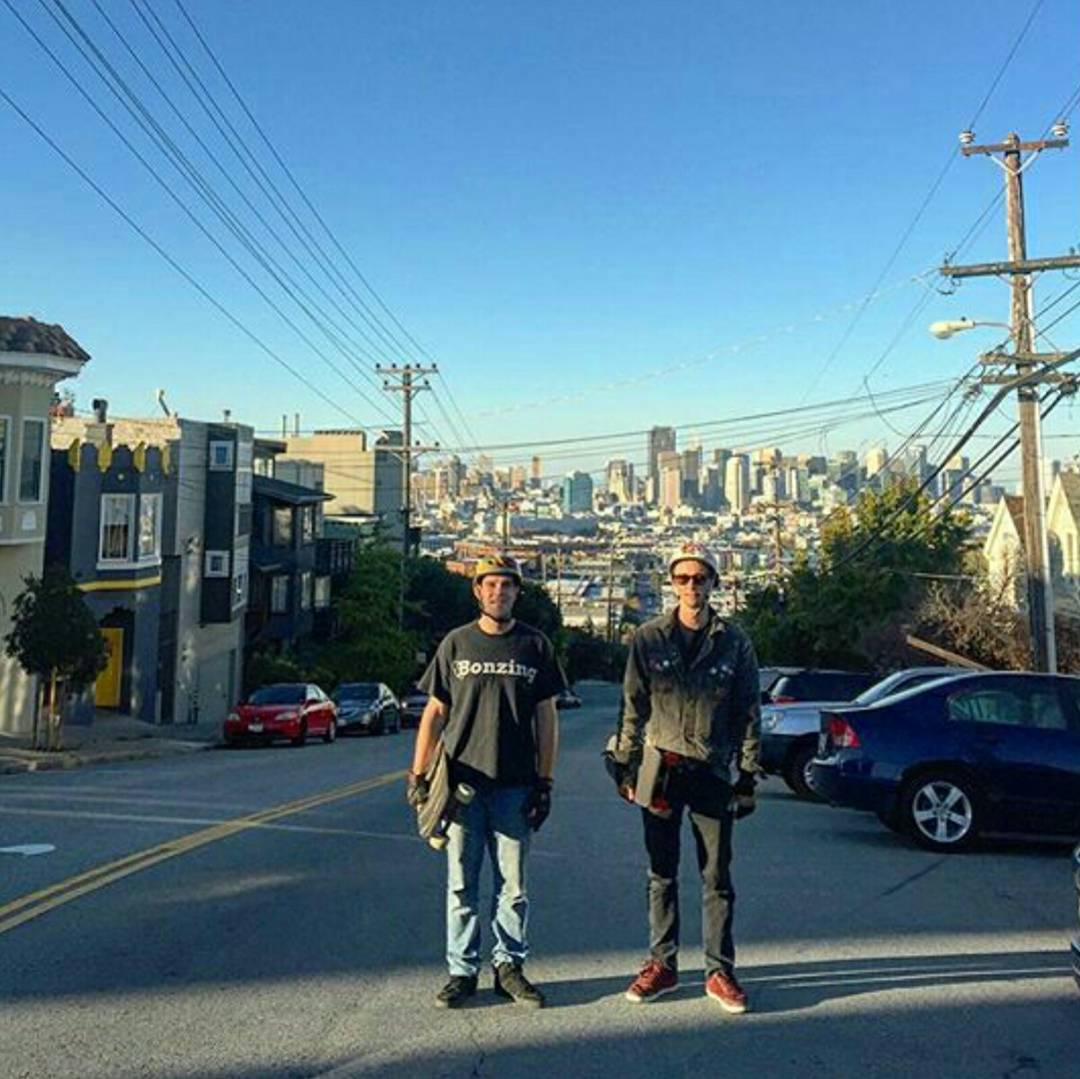 Team rider Chad Lybrand--@ragnars_world and owner Austin Graziano--@austin_bonzing on top of Potrero hill in San Francisco about to get barrelled!