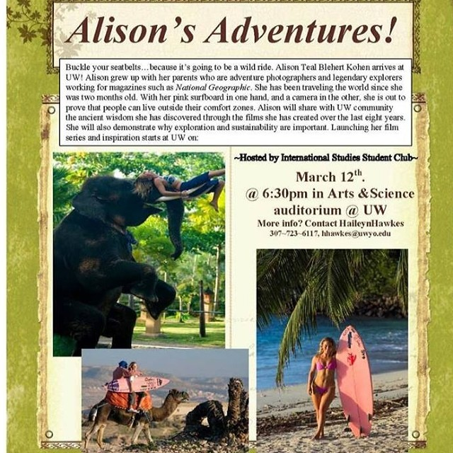 Anyone in Laramie Wyoming next wk? I'll be launching my collage tour at The University of Wyoming showing two of my Alison's Adventures films and hanging out for a Q & A! It's free and open to the public and @hisarahlee will be there toooo!!! When:...
