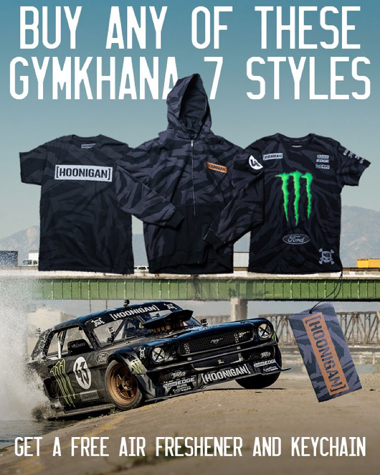 FREE STUFF: A year ago today we showed you HHIC @kblock43 tearing up the streets of Los Angeles,  so for TODAY ONLY we brought back the Hoonicorn collection. Purchase any of the exclusive GYM7 items and get a free Hoonicorn air freshener and Ken Block...